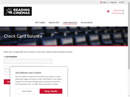Reading Cinemas NZ gift card balance check