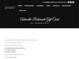 Antonello Specialty Restaurant Group gift card purchase