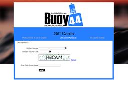 Buoy 44 Seafood Grill gift card balance check
