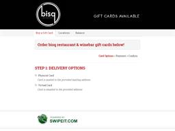 bisq restaurant & winebar gift card purchase
