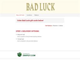Bad Luck gift card balance check