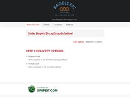 Bagels Etc. gift card balance check