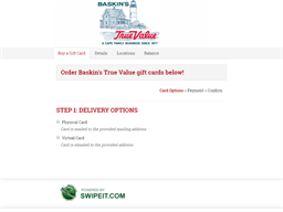 Baskin's True Value gift card balance check