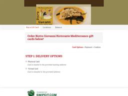 Bistro Giovanni Ristorante Mediterranco gift card purchase