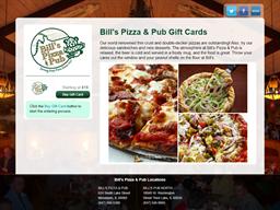 Bill's Pizza & Pub gift card purchase