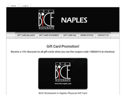 BiCE Restaurant in Naples gift card purchase