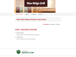 Blue Ridge Grill gift card purchase