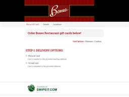Bones Restaurant gift card purchase