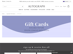 Autograph gift card purchase