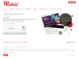 Westfield Stratford City gift card balance check