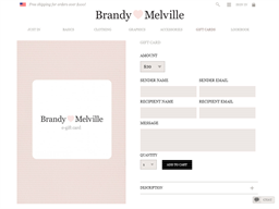 Brandy Melville gift card purchase