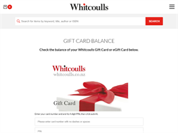 Whitcoulls Consumer gift card balance check