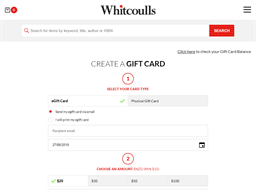 Whitcoulls Consumer gift card purchase