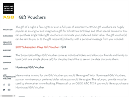 Auckland Theatre Company gift card purchase