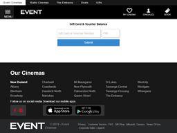 Event Cinemas gift card balance check