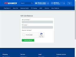 EB Games gift card balance check