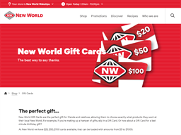 New World Supermarket gift card purchase