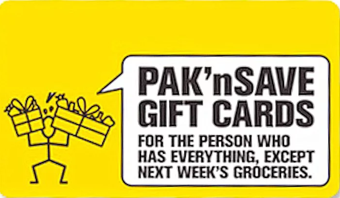 Pak 'n Save gift card design and art work