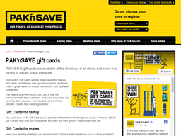 Pak 'n Save gift card purchase