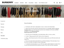 Burberry gift card purchase