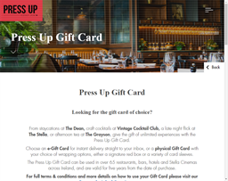 Press Up Entertainment Group gift card purchase
