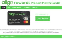 Allgo Rewards Prepaid Mastercard gift card balance check