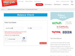 One4All Rewards gift card balance check