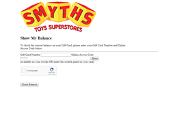 Smyths Toys gift card balance check