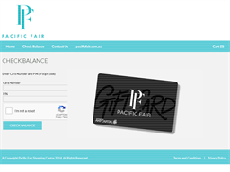 Pacific Fair gift card balance check