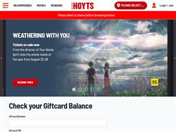Hoyts Cinemas gift card purchase