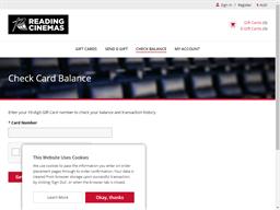 Reading Cinemas gift card balance check