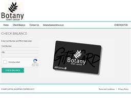 Botany Town Centre gift card balance check