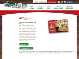 Topper's Pizza gift card purchase