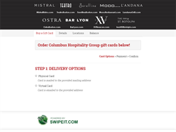 Columbus Hospitality Group gift card purchase