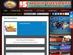 Coming Attractions Theatres gift card balance check