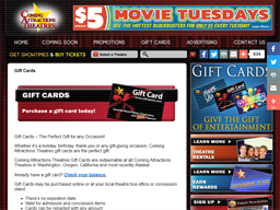Coming Attractions Theatres gift card purchase