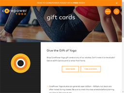 Core Power Yoga gift card purchase