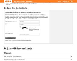 OBI Baumarkt gift card balance check
