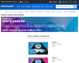 Ticketmaster France gift card purchase