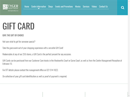 Tyger Valley Shopping Centre gift card purchase