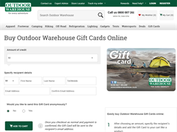 Outdoor Warehouse gift card purchase