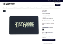 Dry Goods gift card purchase