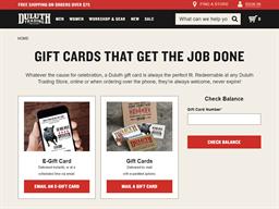 Duluth Trading Company gift card balance check