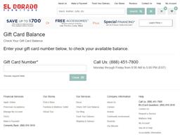 El Dorado Furniture gift card balance check