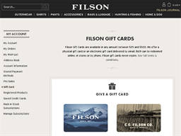 Filson gift card purchase