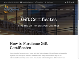 The Burlington Performing Arts Centre gift card purchase