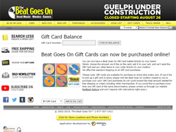 The Beat Goes On gift card balance check