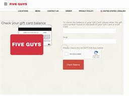 Five Guys gift card balance check