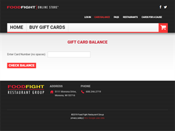Food Fight Restaurant Group gift card balance check