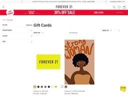 Forever 21 gift card purchase